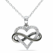 Sterling Silver 1/10 ct TDW Diamond Heart Pendant Necklace
