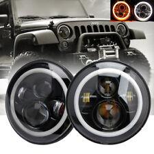 A Pair 7'' Round LED Headlights Halo Angle Eyes For Jeep 97-15 Wrangler JK LJ TJ