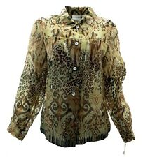 Alfred Dunner Womens Blouse 12 Sheer L/S Button Down Animal Print Brown Career