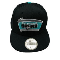 San Antonio Spurs Black Green Retro Throwback Logo Hat NBA Fitted 7 1/8
