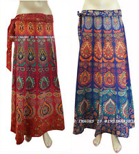 Long Skirt Warp AroundSet of 2 Indian Women Ethnic Floral Rapron Cotton Printed
