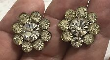 Vintage Rhinestone Flower Screw Back Earrings