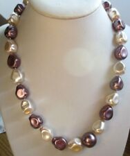 Collier perles baroques en résine nacrée 2 tons beige rosé mauve bijou rétro 702