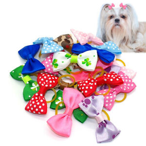 20/100pcs Cute Pet Dog Hair Bows Rubber Bands Grooming Accessories for Shih Tzu