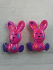 Vintage 1980's Hair Clip Barrettes Pink Bunny Rabbit Stars Hearts Pair/ Set *s