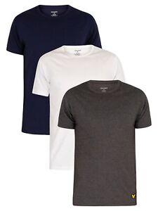 Lyle & Scott Men's 3 Pack Maxwell Lounge Crew T-Shirts, Multicoloured