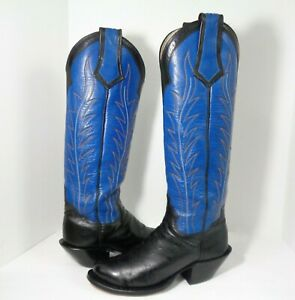 Rare Hand Made Mens Western Cowboy Knee High Boots 18inches Shaft US Size 9.5D