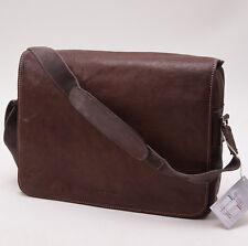 New DIONIGI Dark Brown Hammered Leather Messenger Shoulder Bag Italy