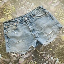 "LEVIS 501 Denim CUT OFF Shorts Size 14 W33"" BLUE 
