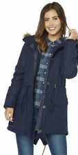 Bellfield Hooded Fur Trim Wool Mix Parka - Navy Size 18