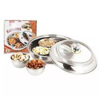 S/S 5pc Relish Chutney Pickle Dish Bowls Tray Thali Multipurpose Serving
