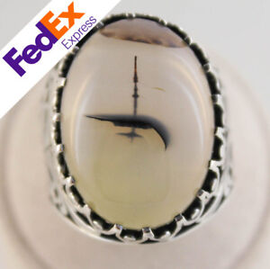 A++ Rare Yemeni Aqeeq Agate Stone Mosque within Sky 925 Sterling SILVER Men Ring