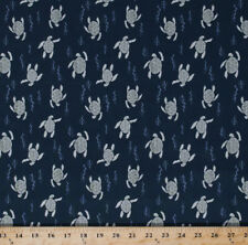 Cotton Sea Turtles Swimming Animals Reptiles Navy Blue Fabric Print BTY D366.04