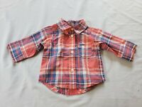 Carter's Baby Boy's L/S Plaid Button-Down Shirt NA8 Red/Multi Newborn NWT