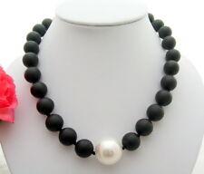 "18.5"" 14MM Black Jasper White  Shell Pearl Necklace"