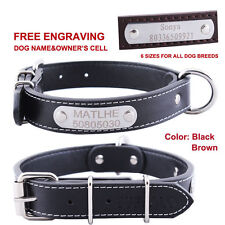 Free Engraving Personalized ID Tag Leather Dog Collar Custom Name Owner Collar