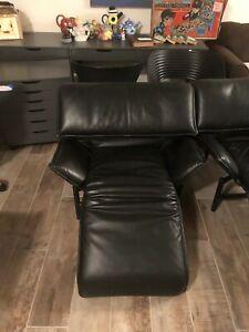 Vintage Saporiti Italia Black Leather Chairs