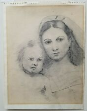 Original Theo Van Doesburg Pencil Signed Drawing of Madonna and Child