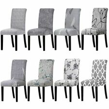 Grey Color Printed Chair Cover Washable Removable Big Elastic Slipcovers Stretch