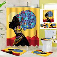 Bathroom Non Slip Carpet Mat Toilet Cover Pedestal Rug Seat Pad + Shower Curtain