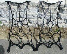 GEOMETRIC DESIGN  INDUSTRIAL AGE CAST IRON TREADLE LEGS ANTIQUE REPURPOSE
