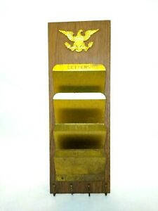 Vintage Metal Wall Mounted Mail Holder American Eagle Gold & Wood Tone Key Hooks