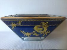 Murano Art Glass Square Bowl Blue/Gold by DECOTECH Italy