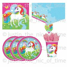 UNICORN Rainbow Girls Birthday Party Tableware Plates Cups Napkins Tablecover