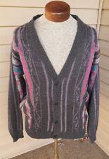 Vintage 90's 80's Emporio Gitano  Acrylic Cardian Sweater Large Pink Blue Gray