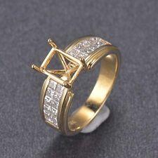 6x8mm Emerald Cut 18K Solid Yellow Gold Natural VS Princess Diamond Ring Setting
