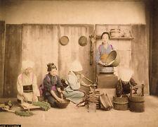 Japan Women in the kitchen Original vintage handcolored photo 1890c XL189