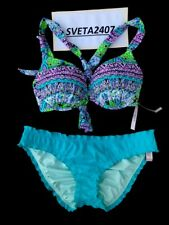 NWT Victoria's Secret Bikini~Bali Gorgeous +1Cup Halter~Ruffle Cheeky~32D/S