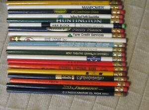 Estate Sale - Lot of 20+ Vintage Wood Advertising Pencils - Mixed Lot