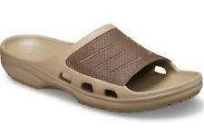 CROCS Bogota Slide Sandals Khaki / Espresso Brown Leather