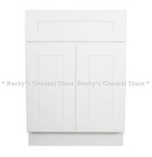 "White Shaker Bathroom Vanity Base Cabinet 24"" Wide x 21"" Deep New"