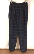 Pendleton Argyle Tartan Womens Green Navy Red Plaid Virgin Wool Pants Size 8