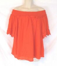 Lane Bryant Womens Off Shoulder Blouse Shirt Gauze Sz 22/24 Orange Lined CBi3