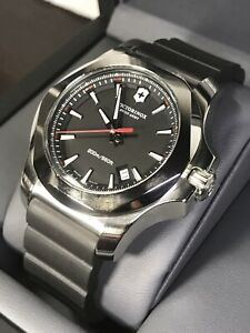 VICTORINOX INOX Swiss Army Men's Rubber Strap Quartz Watch V241682 20ATM 43mm