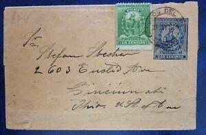 Peru 1900 Travelled Postal Entire to Cincinnati, USA - 2+1 Centavos Single stamp