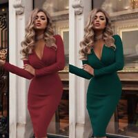 Casual Party Evening Club Dress Cocktail Bodycon Long Sleeve Womens V Neck Mini