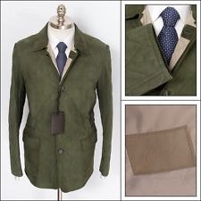 $3,650 BRIONI Italy Green Quilted Suede Leather Riding Jacket Coat 50 M 40