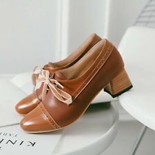 NEW Women's Vintage elegant Round Toe lace Up Middle Block Heel Shoes Size 8