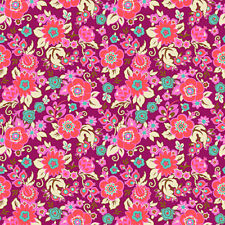 Amy Butler CPAB001 Soul Mate Grand Bouquet Plum Cotton Fabric By Yard