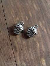 BULK Charms Cupcake Charms Bakery Antiqued Silver 50 pieces Wholesale Charms