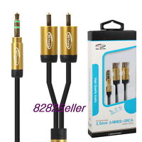 5m 15FT Slim Premium Gold 3.5mm Stereo Male to 2 RCA Plug Cable Smart Phone NEW