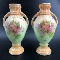"""Vtg Pair Pink Roses Porcelain Urns Romantic Art Nouveau Style 7"""" Double Handle"""