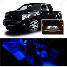 For Ford F150 2009-2014 Blue LED Interior Kit + Xenon White License Light LED