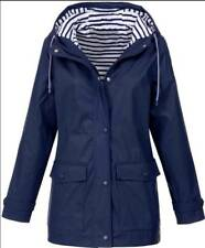 Plus Women Long Sleeve Hooded Wind Jacket Ladies Outdoor Waterproof Rain Coat UK