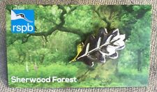 RSPB Sherwood Forest Pin Badge Silver Oak Leaf On Picture Card