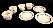 Incaware Cream Tan Brown Stripes Miniature Mini Tea Cup Saucers Vintage